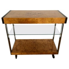 Vintage 1970s Burl and Glass Bar Cart by Lane