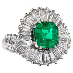 Vintage 1970s Certified 1.88 Carat Colombian Emerald Diamond Ballerina Ring