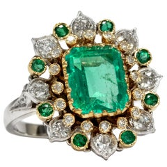 Vintage 1970s Certified 3.9 Carat Emerald Diamond Gold Cluster Cocktail Ring
