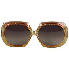 Vintage 1970s CHRISTIAN DIOR Oversized Mod Ribbed Frame Sunglasses