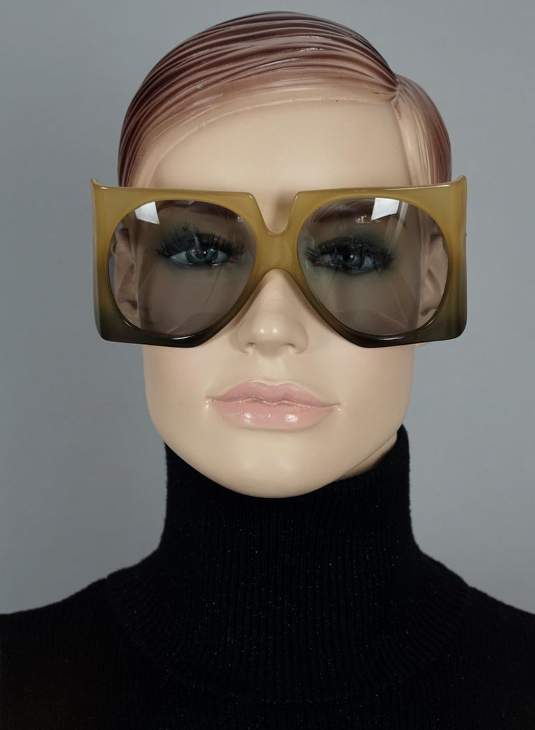 Vintage 1970s CHRISTIAN DIOR Oversized Square Space Age Sunglasses  Measurements: Height: 2.75 inches (7 cm) Horizontal Width: 5.98 inches (15.2 cm) Temple Length: 4.13 inches (10.5 cm)  Features: - 100% Authentic CHRISTIAN DIOR. - Dramatic