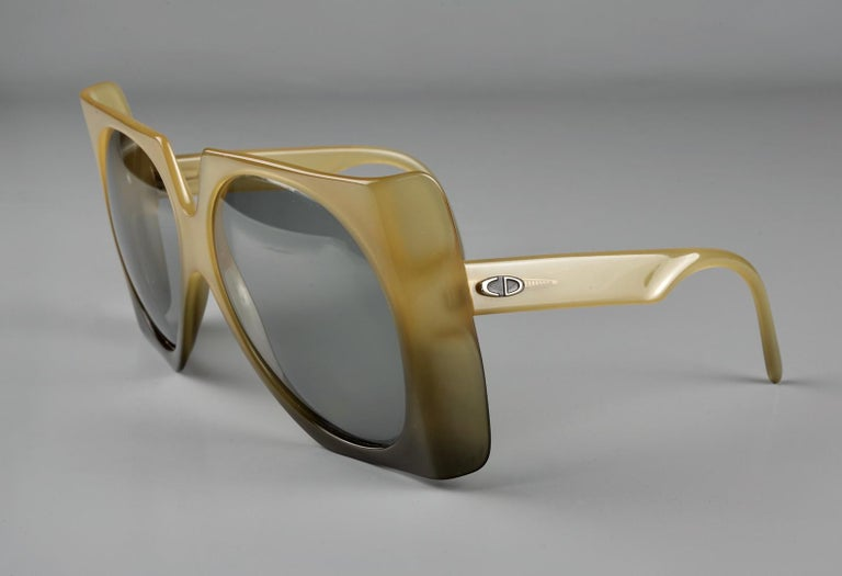Vintage 1970s CHRISTIAN DIOR Oversized Square Space Age Sunglasses For Sale 2