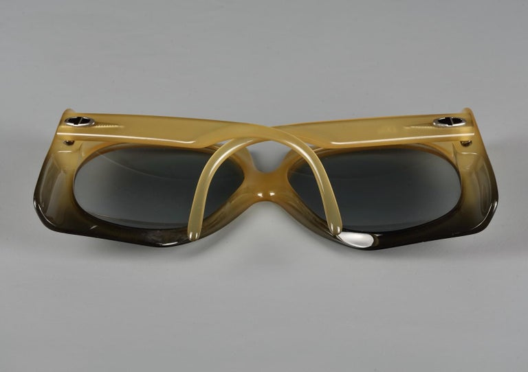 Vintage 1970s CHRISTIAN DIOR Oversized Square Space Age Sunglasses For Sale 4