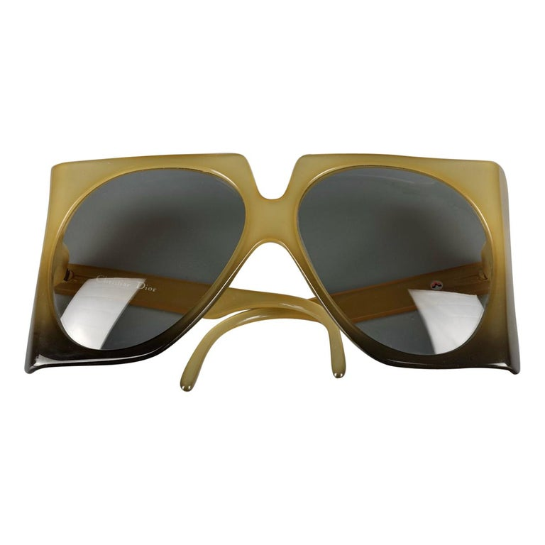Vintage 1970s CHRISTIAN DIOR Oversized Square Space Age Sunglasses For Sale
