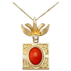 Vintage 1970s Coral and Diamond Yellow Gold Pendant