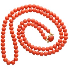 Vintage 1970s Coral and Yellow Gold Necklace
