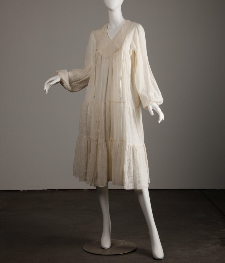Vintage 1970s Cotton Gauze Dress in Off White 1