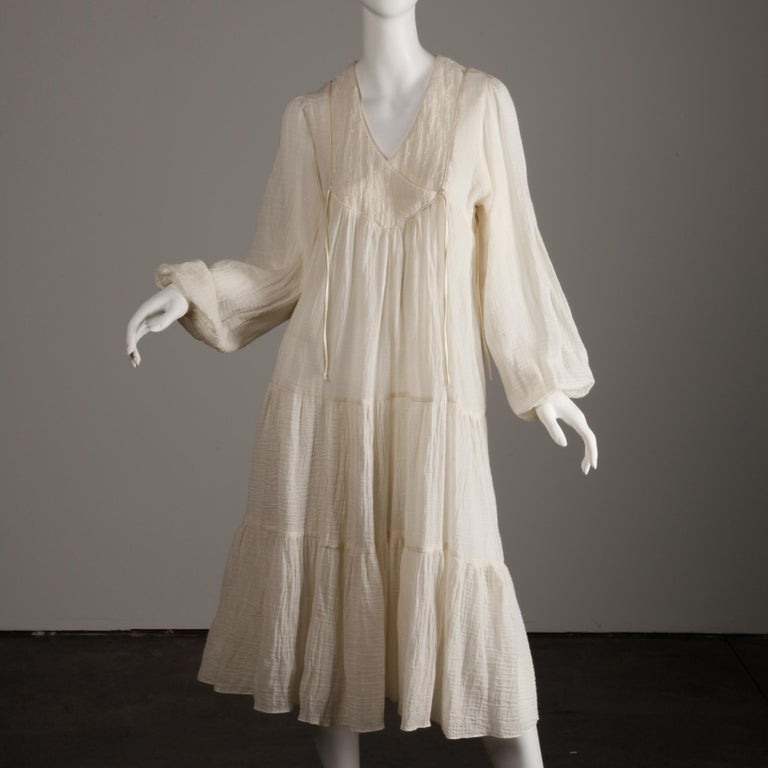 Vintage 1970s Cotton Gauze Dress in Off White 3