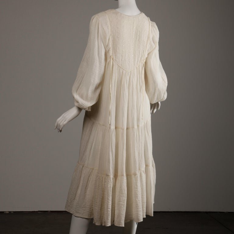 Vintage 1970s Cotton Gauze Dress in Off White 4