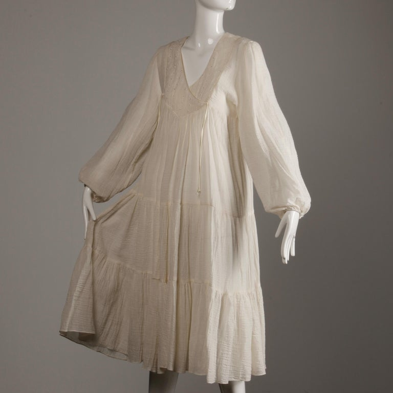 Vintage 1970s Cotton Gauze Dress in Off White 5