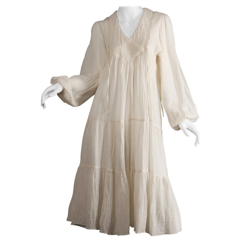 Vintage 1970s Cotton Gauze Dress in Off White