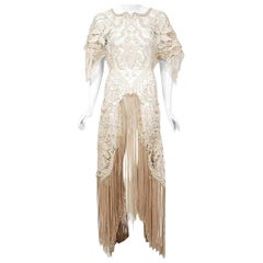 Vintage 1970's Couture Beige Lace Winged Sleeve Bias-Cut Fringe Bridal Gown