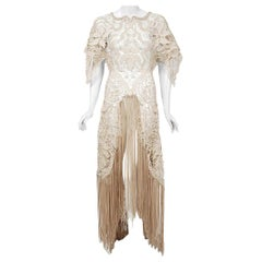 Vintage 1970's Couture Beige Lace Winged Sleeve Bias-Cut Fringe Sheer Dress Gown