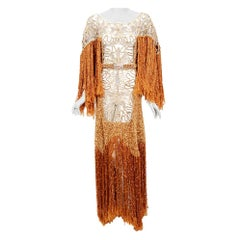Vintage 1970's Couture Copper Knit & Beige Lace Bias-Cut Fringe Bohemian Gown