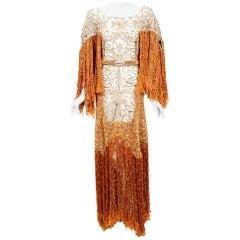 Vintage 1970's Couture Copper Knit & Beige Lace Bias-Cut Fringe Bohemian Gown