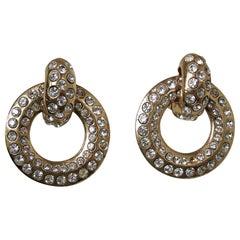 Vintage 1970s Crystal Hoop Drop Earrings