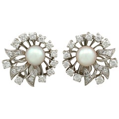 Vintage 1970s Cultured Pearl and 1.22 Carat Diamond White Gold Clip-On Earrings