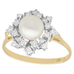 Vintage 1970s Cultured Pearl and Diamond Yellow Gold Dress Ring