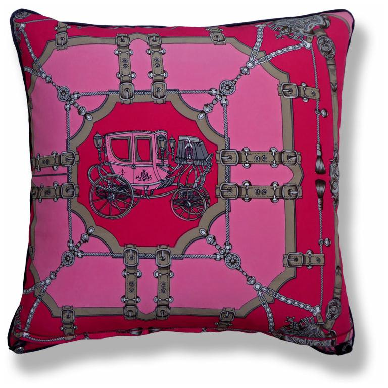 'Pink Poodles' British bespoke luxury cushion created using original contrasting vintage silks featuring two glorious and beautiful complimentary mis-matched sides, circa 1970 and 1980. Provenance: Switzerland and Italy. Made by Nichollette