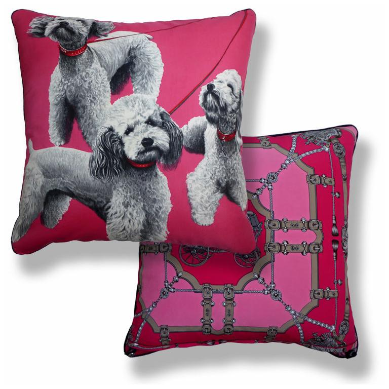 Organic Modern Vintage 1970s Cushions 'Pink Poodles' Bespoke Made Silk Pillow Made in London For Sale