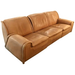 Vintage 1970s De Sede DS-1010 'Sitting Bull' Nude Buffalo Leather Sofa
