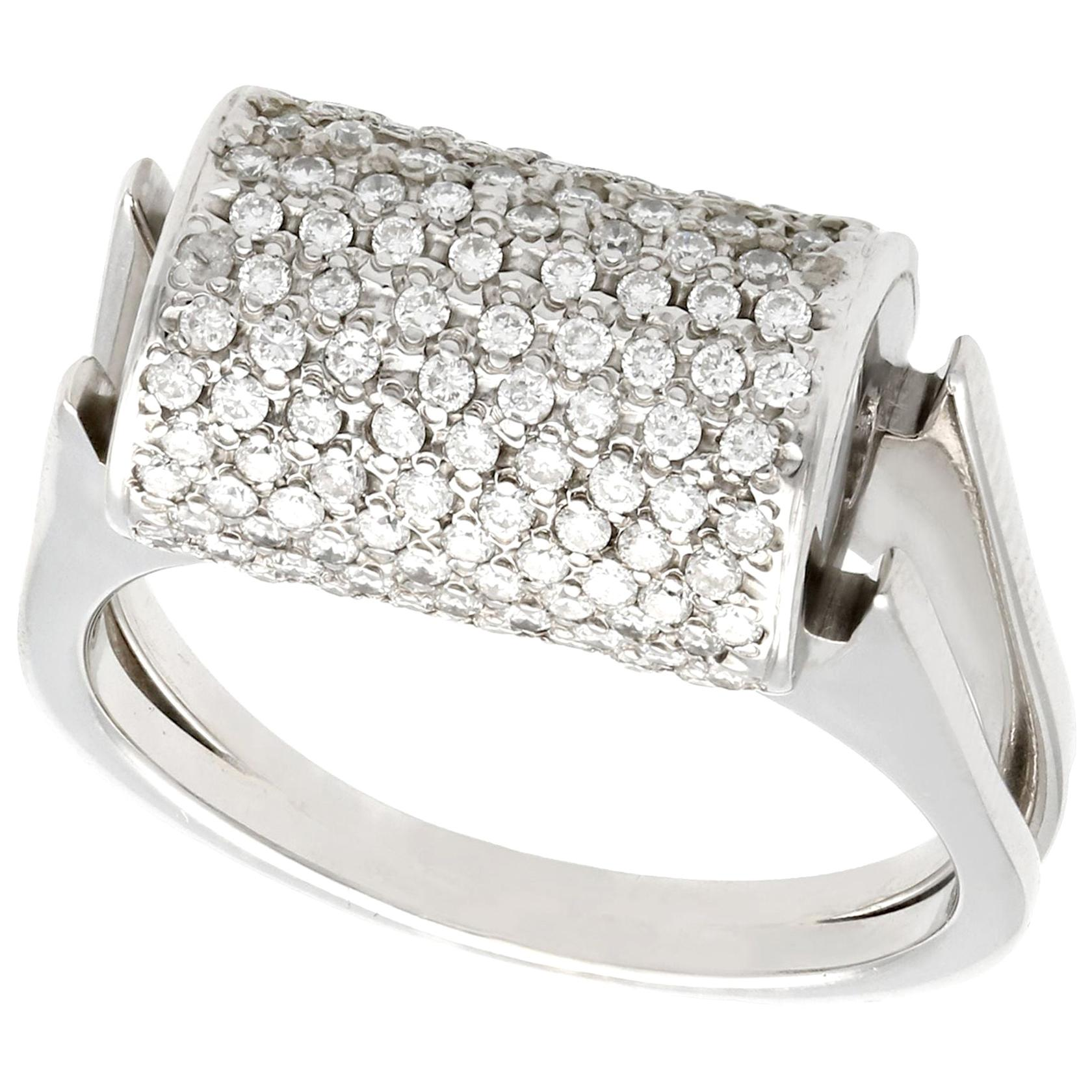Vintage 1970s Diamond and White Gold Cocktail Ring