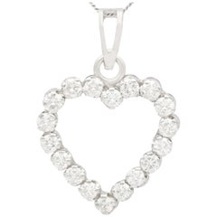 Vintage 1970s Diamond and White Gold Heart Pendant