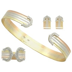 Vintage 1970s Diamond and White Yellow and Rose Gold Jewelry Suite