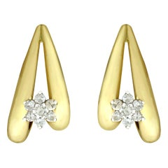 Vintage 1970s Diamond and Yellow Gold Drop Earrings