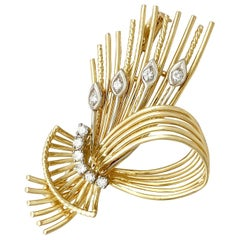 Vintage 1970s Diamond and Yellow Gold Spray Brooch