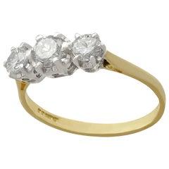 Vintage 1970s Diamond Yellow Gold Three-Stone Ring