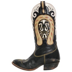 Vintage 1970's Don Quijote Novelty Horseshoe Black Leather Western Cowboy Boots