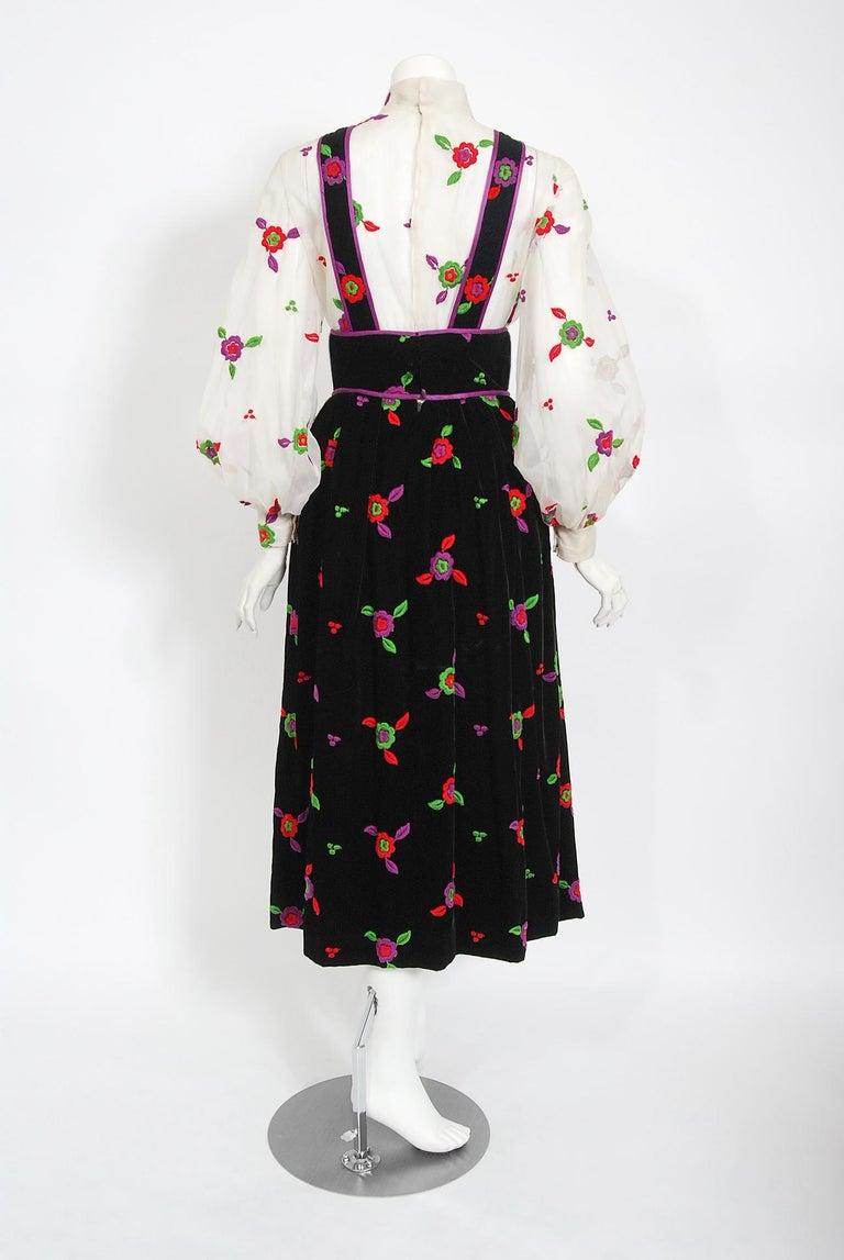 Vintage 1970's Donald Brooks Embroidered Silk Blouse & Velvet Pinafore Dress Set For Sale 5