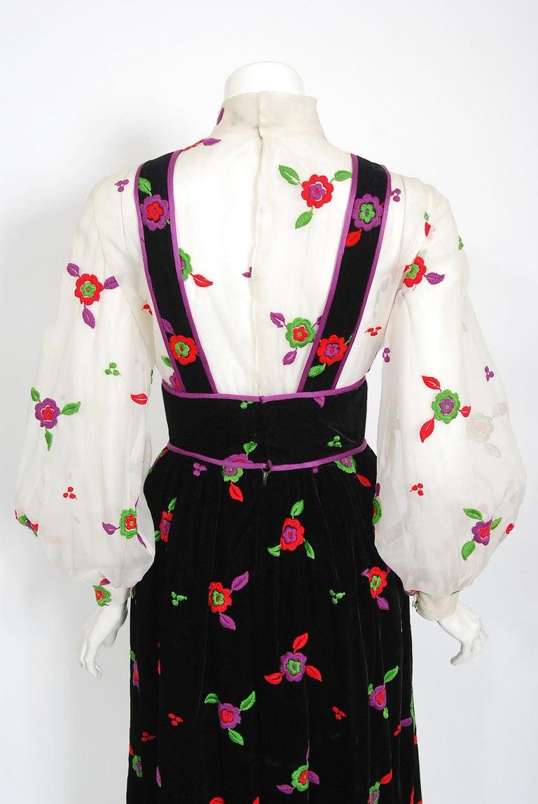 Vintage 1970's Donald Brooks Embroidered Silk Blouse & Velvet Pinafore Dress Set For Sale 6