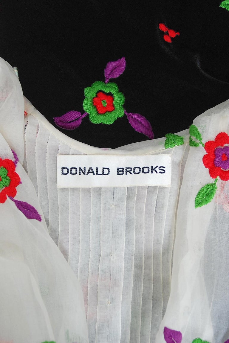 Vintage 1970's Donald Brooks Embroidered Silk Blouse & Velvet Pinafore Dress Set For Sale 7