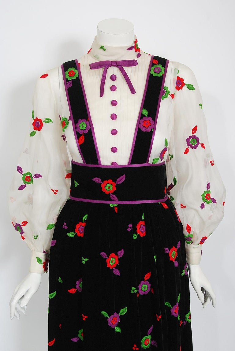 Exceptional & ultra rare Donald Brooks pinafore designer dress ensemble from the early 1970's. Brooks was perhaps one of the most important designers of the mid-twentieth century. Though he was very successful, his passion was his work for the stage