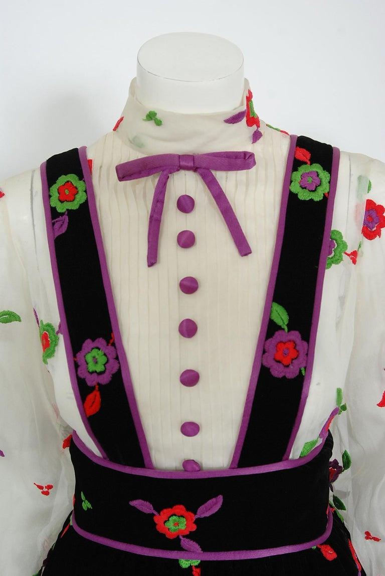 Black Vintage 1970's Donald Brooks Embroidered Silk Blouse & Velvet Pinafore Dress Set For Sale