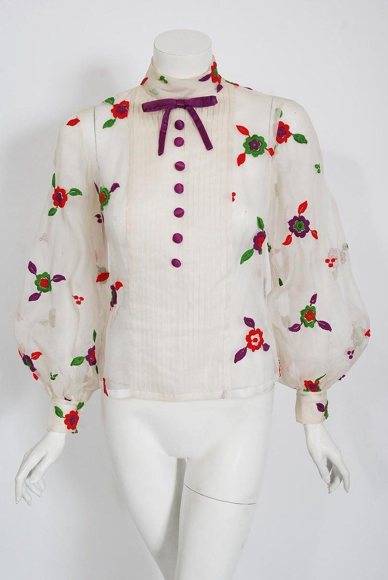 Women's Vintage 1970's Donald Brooks Embroidered Silk Blouse & Velvet Pinafore Dress Set For Sale