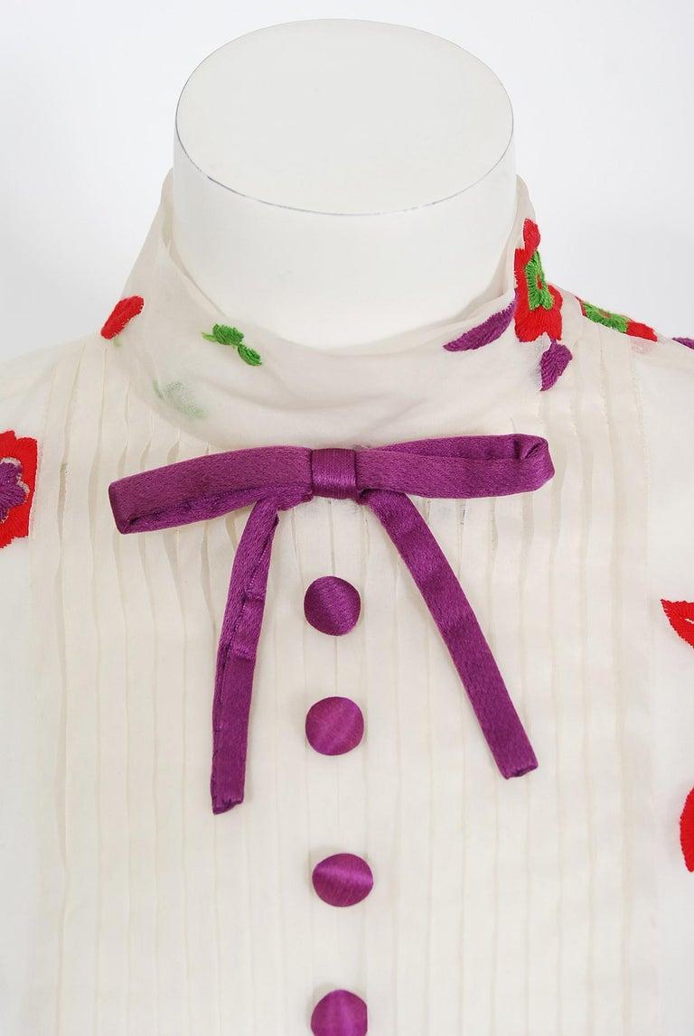 Vintage 1970's Donald Brooks Embroidered Silk Blouse & Velvet Pinafore Dress Set For Sale 1