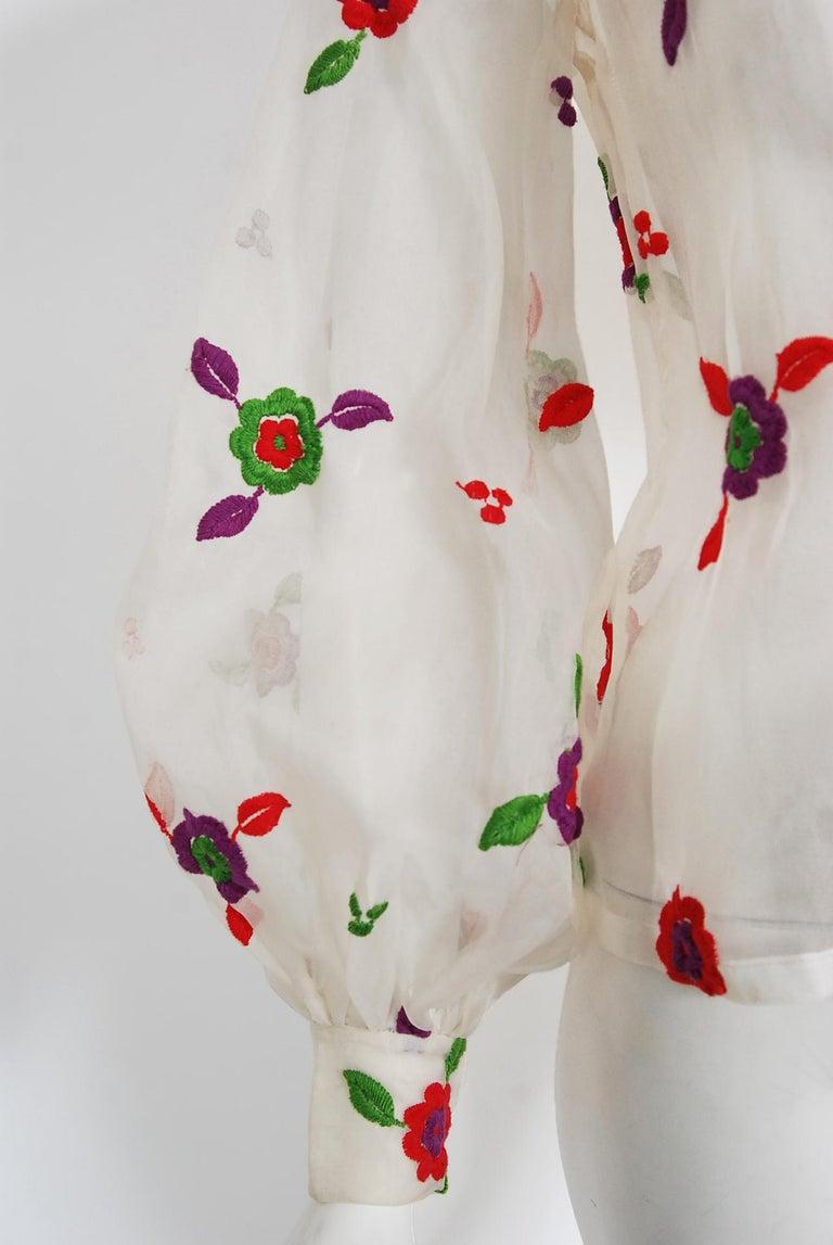 Vintage 1970's Donald Brooks Embroidered Silk Blouse & Velvet Pinafore Dress Set For Sale 2