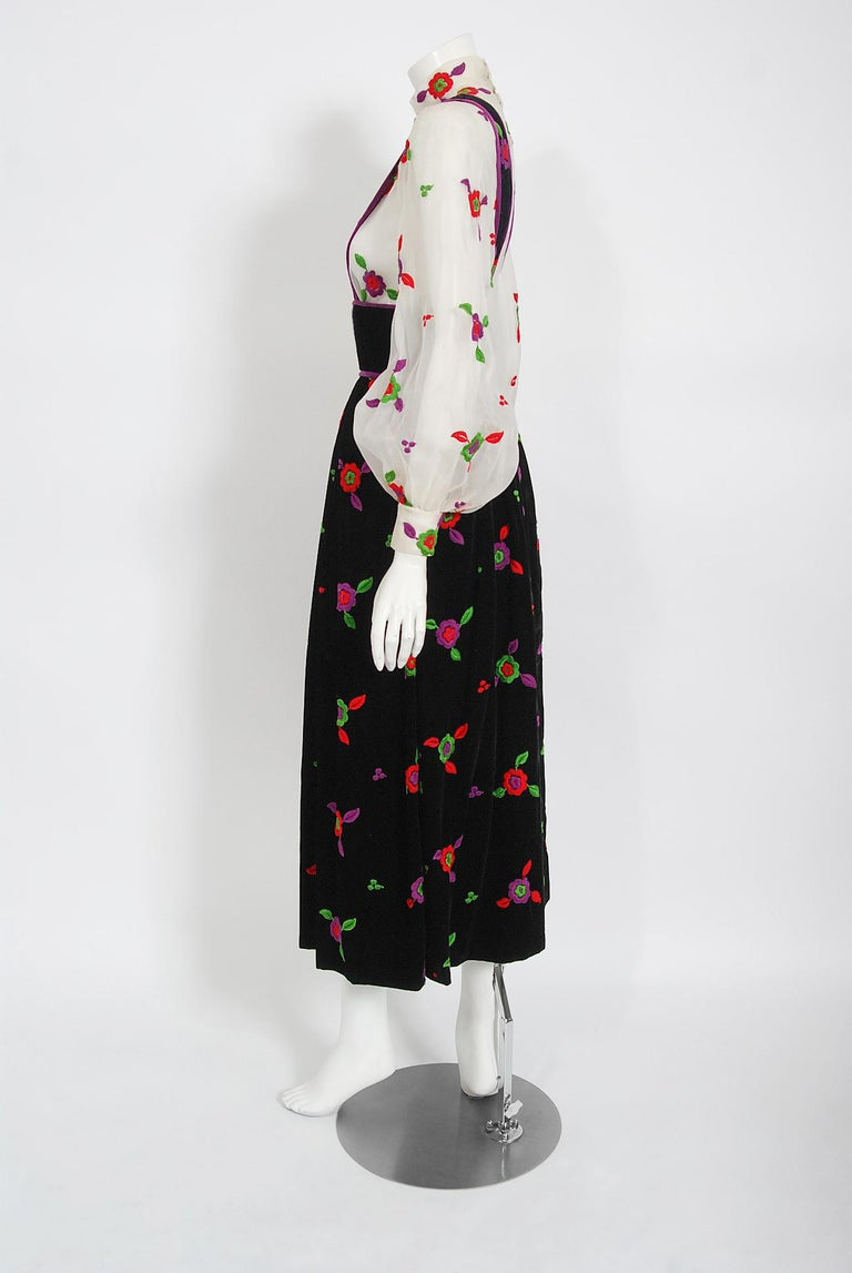 Vintage 1970's Donald Brooks Embroidered Silk Blouse & Velvet Pinafore Dress Set For Sale 3