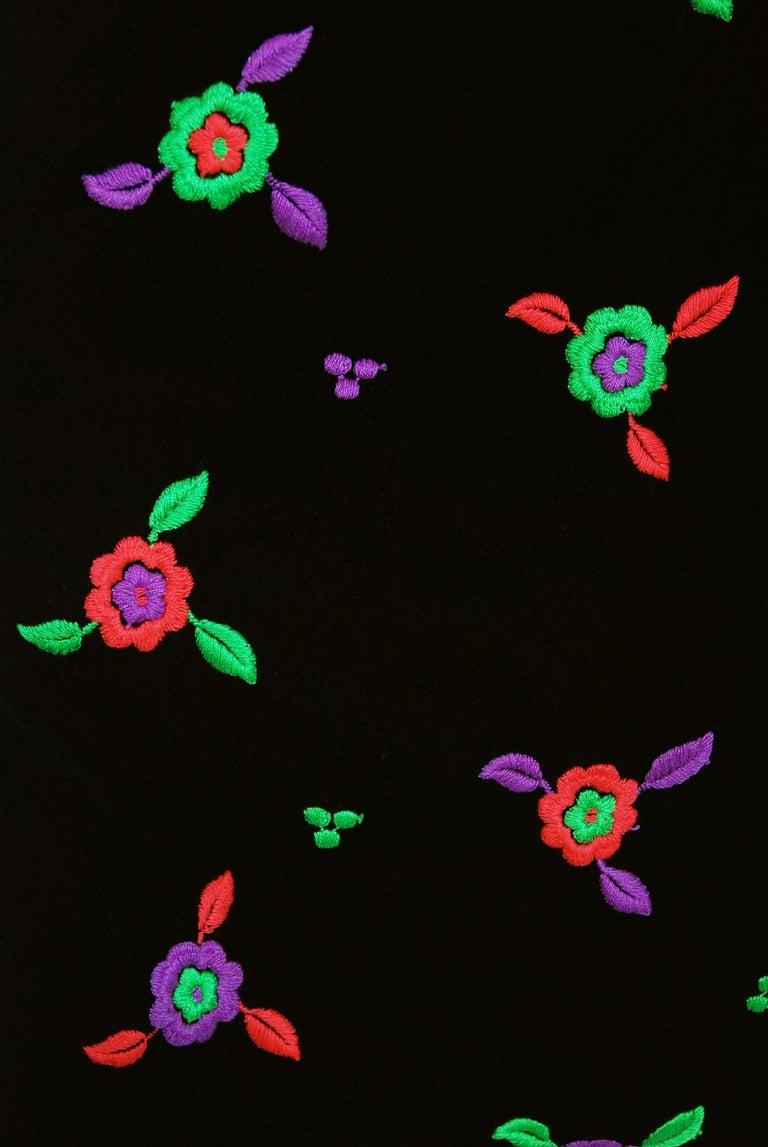 Vintage 1970's Donald Brooks Embroidered Silk Blouse & Velvet Pinafore Dress Set For Sale 4