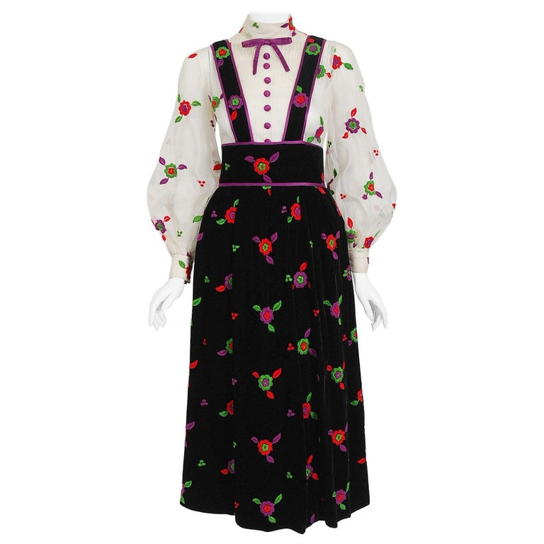 Vintage 1970's Donald Brooks Embroidered Silk Blouse & Velvet Pinafore Dress Set For Sale