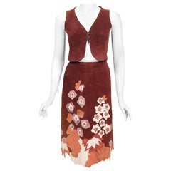 Vintage 1970's Eavis & Brown Patchwork Leather Applique Bohemian Skirt w/ Vest
