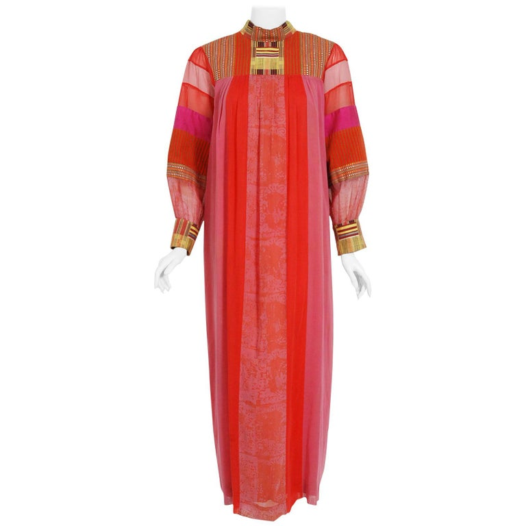 Vintage 1970's Embroidered Patchwork Cotton Maxi Dress Worn By Zsa Zsa Gabor For Sale