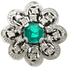 Vintage 1970s Emerald and Diamond White Gold Cocktail Ring