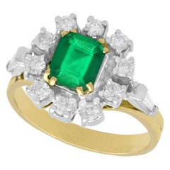 Vintage 1970s Emerald and Diamond Yellow Gold Cluster Ring