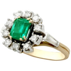 Vintage 1970s Emerald Diamond Yellow Gold Cluster Ring
