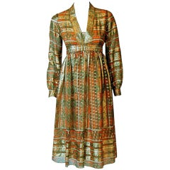 Vintage 1970's Esther Wolf Metallic Indian-Silk Empire Plunge Bohemian Dress