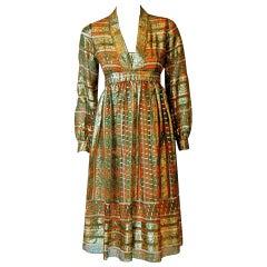 Vintage 1970's Esther Wolf Metallic Indian-Silk Empire Plunge Bohemian Dress